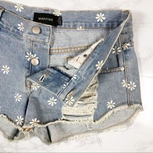 MINKPINK Daisy Button Fly Distressed Denim Shorts